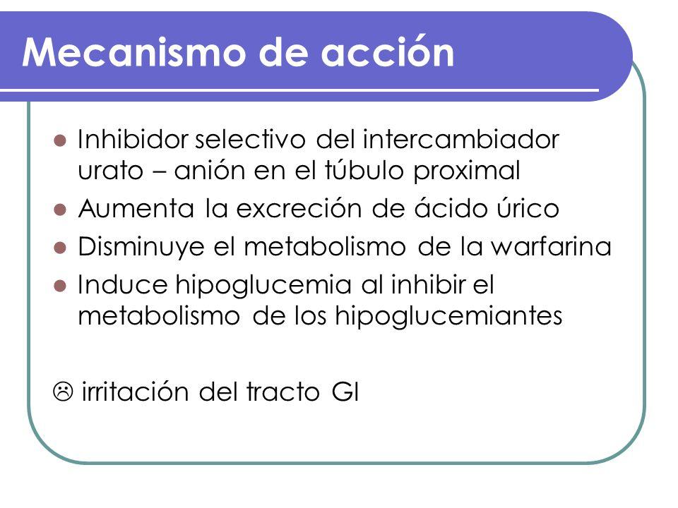 Mecanismo de acción Inhibidor selectivo del intercambiador urato – anión en el túbulo proximal Aumenta la excreción de ácido úrico Disminuye el metabo