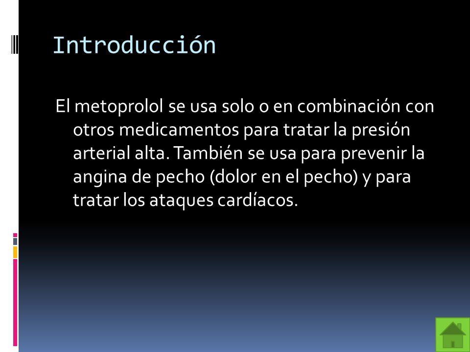 Fórmula El Metoprolol es un bloqueador del receptor β1 selectivo usado en el tratamiento de enfermedades severas del sistema cardiovascular, especialmente de la hipertensión y el infarto agudo de miocardio (IAM).