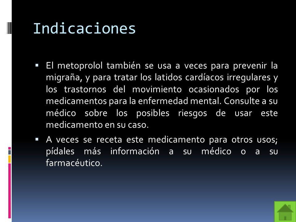 Vía de Administración Las presentaciones del metoprolol son tabletas normales y tabletas de liberación prolongada (acción prolongada) para administrarse por vía oral.