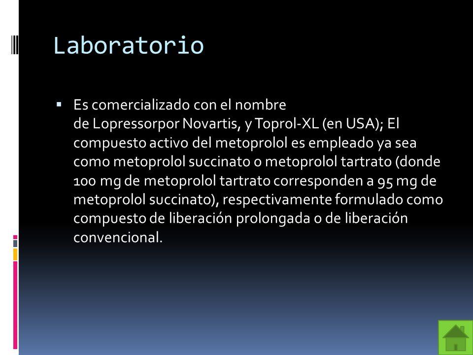 Presentación El Metoprolol tiene un punto de fusión muy bajo, alrededor de 45 grados Celsius.
