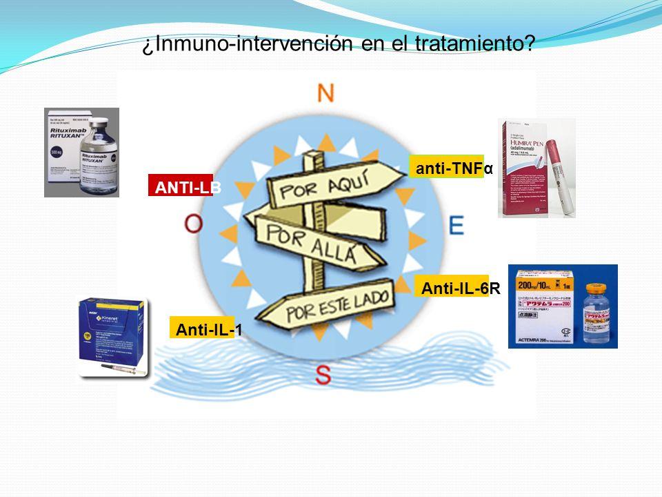 ¿Inmuno-intervención en el tratamiento? anti-TNFα Anti-IL-1 Anti-IL-6R ANTI-LB