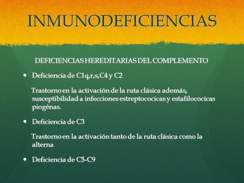 INMUNODEFICIENCIAS DEFICIENCIAS HEREDITARIAS DEL COMPLEMENTO DEFICIENCIAS HEREDITARIAS DEL COMPLEMENTO Deficiencia de C1q,r,s,C4 y C2 Deficiencia de C