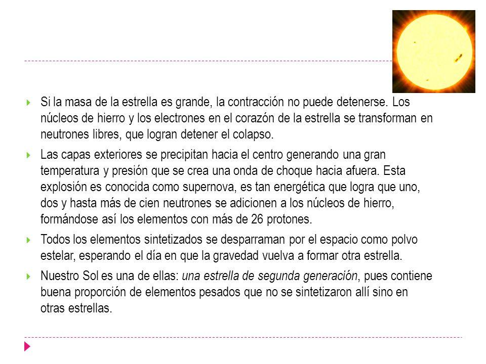 Si la masa de la estrella es grande, la contracción no puede detenerse. Los núcleos de hierro y los electrones en el corazón de la estrella se transfo