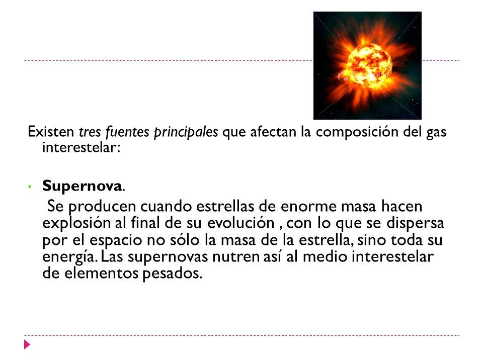Existen tres fuentes principales que afectan la composición del gas interestelar: Supernova. Se producen cuando estrellas de enorme masa hacen explosi