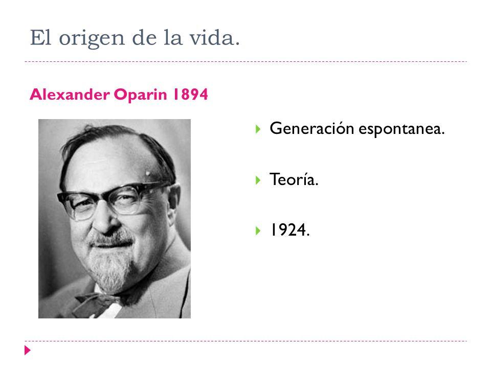 El origen de la vida. Alexander Oparin 1894 Generación espontanea. Teoría. 1924.