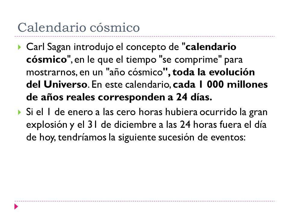 Calendario cósmico Carl Sagan introdujo el concepto de