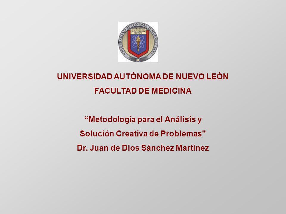 UNIVERSIDAD AUTÓNOMA DE NUEVO LEÓN FACULTAD DE MEDICINA Metodología para el Análisis y Solución Creativa de Problemas Dr.