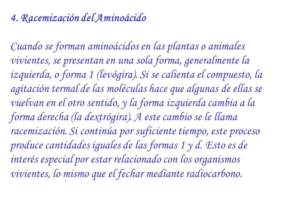4. Racemización del Aminoácido Cuando se forman aminoácidos en las plantas o animales vivientes, se presentan en una sola forma, generalmente la izqui
