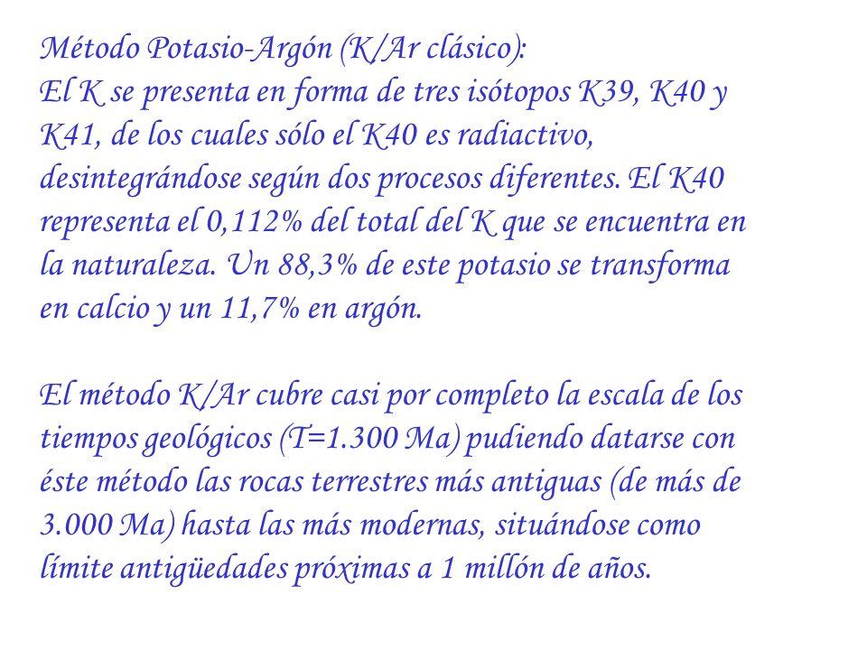 Método Potasio-Argón (K/Ar clásico): El K se presenta en forma de tres isótopos K39, K40 y K41, de los cuales sólo el K40 es radiactivo, desintegrándo