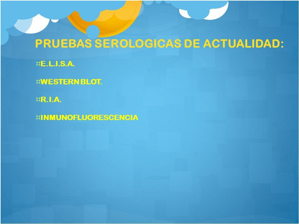 PRUEBAS SEROLOGICAS DE ACTUALIDAD: E.L.I.S.A. WESTERN BLOT. R.I.A. INMUNOFLUORESCENCIA