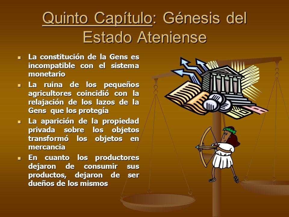 Quinto Capítulo: Génesis del Estado Ateniense La constitución de la Gens es incompatible con el sistema monetario La constitución de la Gens es incomp