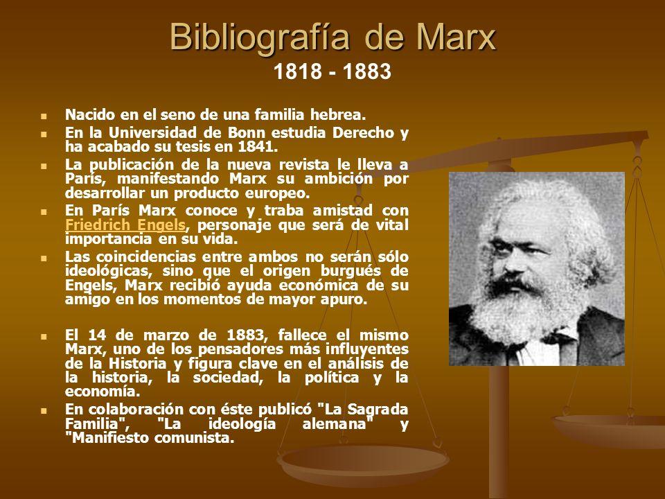 Bibliografía de Marx Bibliografía de Marx 1818 - 1883 Nacido en el seno de una familia hebrea. En la Universidad de Bonn estudia Derecho y ha acabado