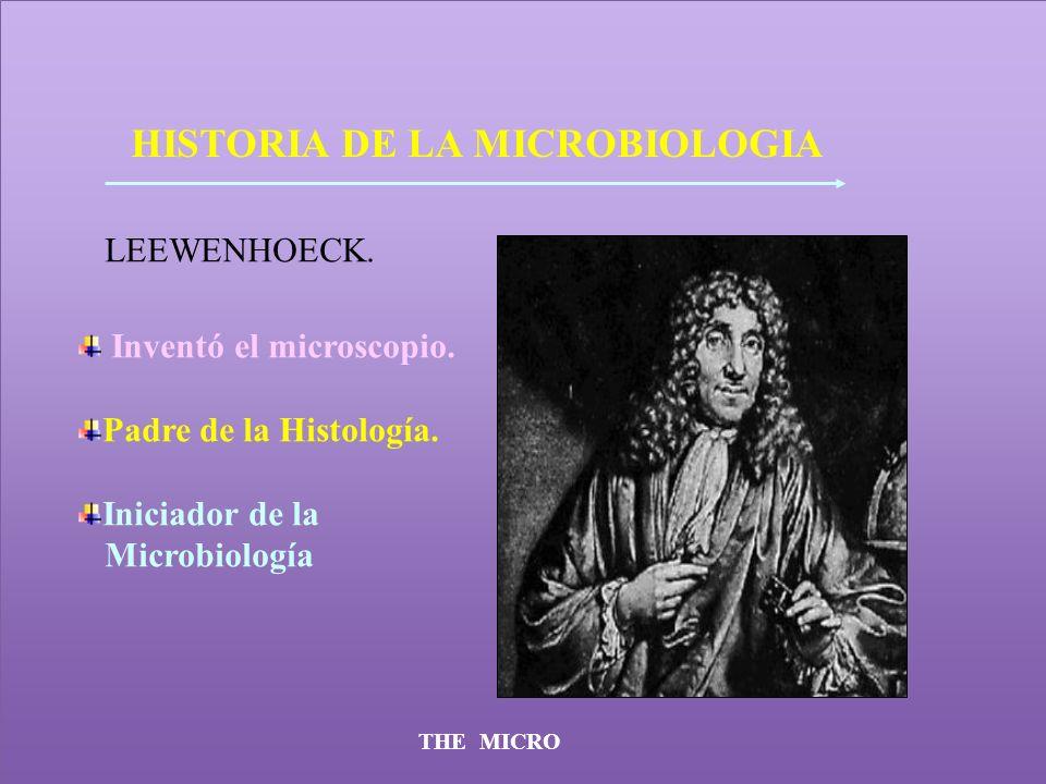 THE MICRO HISTORIA DE LA MICROBIOLOGIA LEEWENHOECK. Inventó el microscopio. Padre de la Histología. Iniciador de la Microbiología