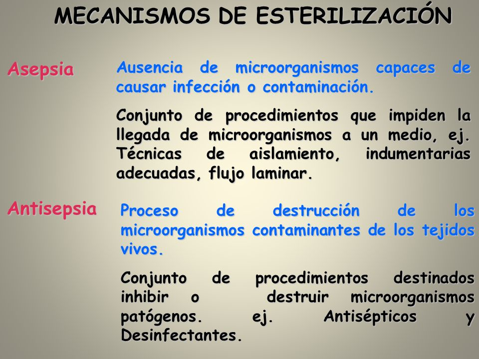 Asepsia Ausencia de microorganismos capaces de causar infección o contaminación. Conjunto de procedimientos que impiden la llegada de microorganismos