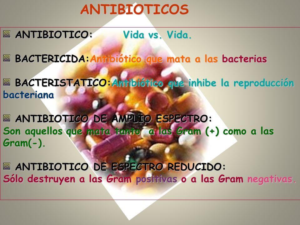 ANTIBIOTICOS ANTIBIOTICO:Vida vs. Vida. ANTIBIOTICO:Vida vs. Vida. BACTERICIDA:Antibiótico que mata a las bacterias BACTERICIDA:Antibiótico que mata a
