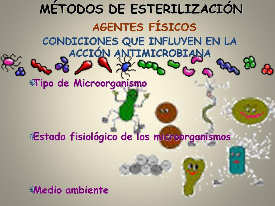 AGENTES FÍSICOS CONDICIONES QUE INFLUYEN EN LA ACCIÓN ANTIMICROBIANA ¯ Tipo de Microorganismo ¯ Estado fisiológico de los microorganismos ¯ Medio ambi