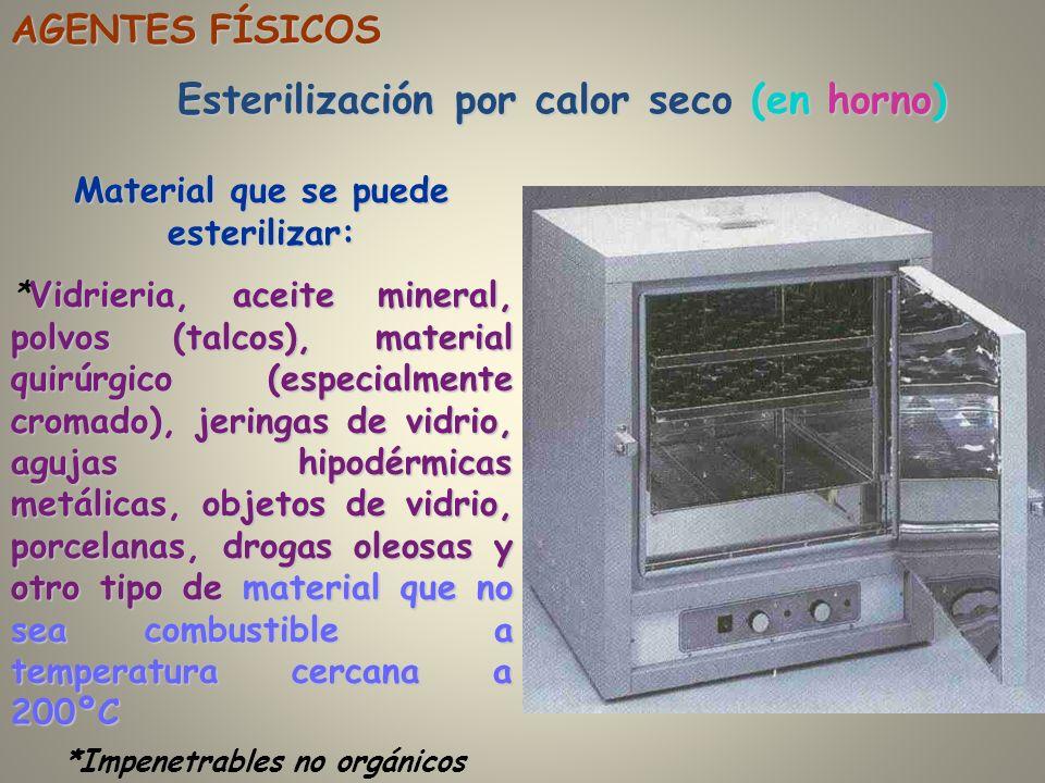 Esterilización por calor seco (en horno) AGENTES FÍSICOS Material que se puede esterilizar: Vidrieria, aceite mineral, polvos (talcos), material quirú