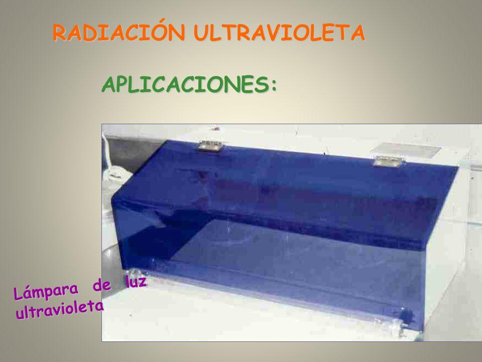 Lámpara de luz ultravioleta RADIACIÓN ULTRAVIOLETA APLICACIONES: