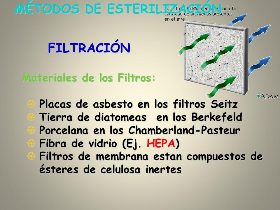 Materiales de los Filtros: Placas de asbesto en los filtros Seitz Placas de asbesto en los filtros Seitz Tierra de diatomeas en los Berkefeld Tierra d
