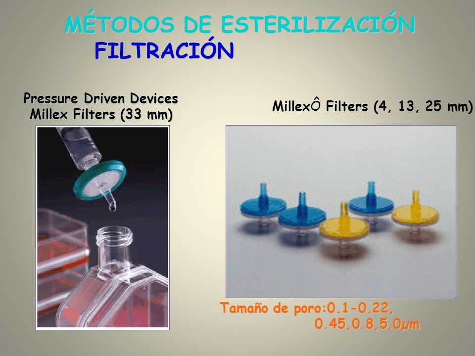 Pressure Driven Devices Millex Filters (33 mm) MillexÔ Filters (4, 13, 25 mm) Tamaño de poro:0.1-0.22, 0.45,0.8,5.0µm FILTRACIÓN MÉTODOS DE ESTERILIZA
