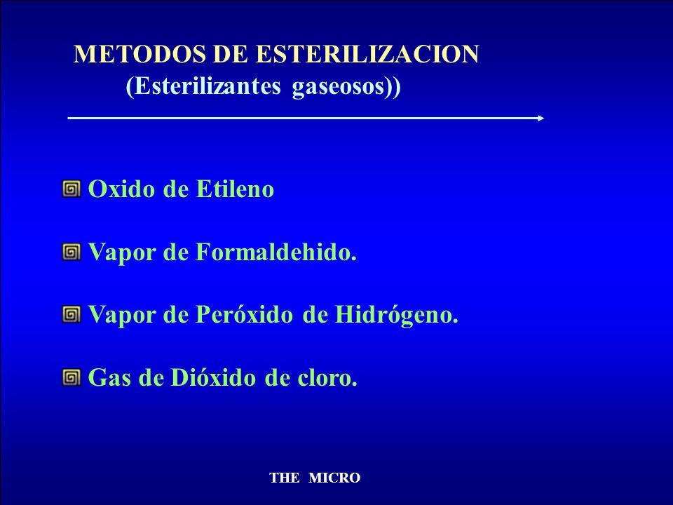 THE MICRO METODOS DE ESTERILIZACION (Esterilizantes gaseosos)) Oxido de Etileno Vapor de Formaldehido. Vapor de Peróxido de Hidrógeno. Gas de Dióxido