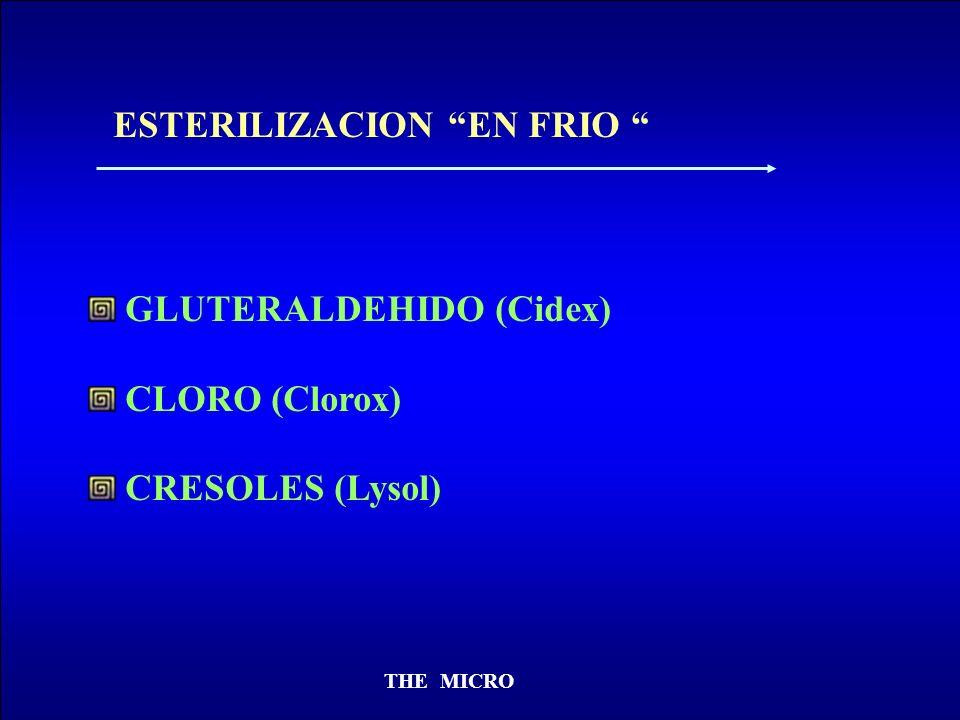 THE MICRO ESTERILIZACION EN FRIO GLUTERALDEHIDO (Cidex) CLORO (Clorox) CRESOLES (Lysol)