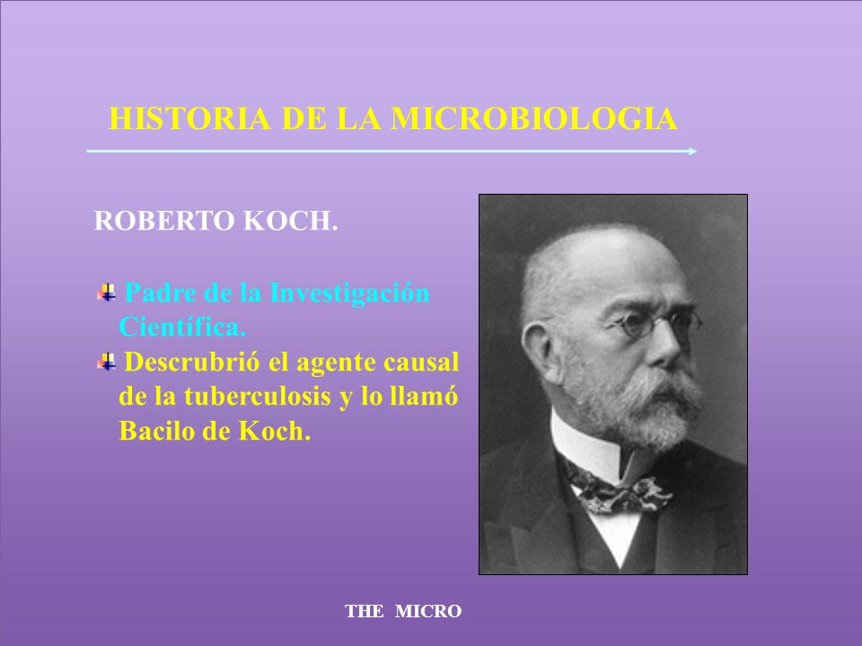 THE MICRO HISTORIA DE LA MICROBIOLOGIA ROBERTO KOCH. Padre de la Investigación Científica. Descrubrió el agente causal de la tuberculosis y lo llamó B