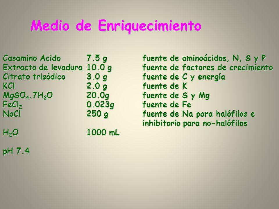Medio de Enriquecimiento Casamino Acido7.5 gfuente de aminoácidos, N, S y P Extracto de levadura10.0 gfuente de factores de crecimiento Citrato trisód