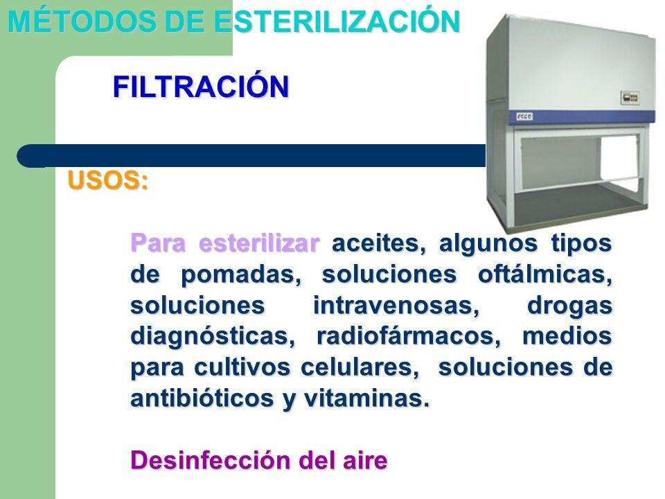 USOS: Para esterilizar aceites, algunos tipos de pomadas, soluciones oftálmicas, soluciones intravenosas, drogas diagnósticas, radiofármacos, medios p