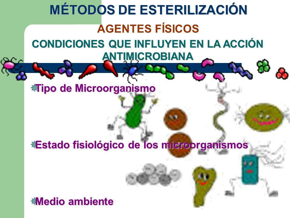 AGENTES FÍSICOS CONDICIONES QUE INFLUYEN EN LA ACCIÓN ANTIMICROBIANA Tipo de Microorganismo Tipo de Microorganismo Estado fisiológico de los microorga