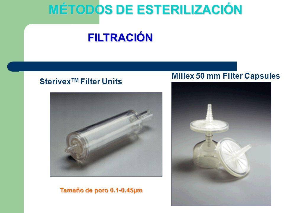 Sterivex TM Filter Units Millex 50 mm Filter Capsules Tamaño de poro 0.1-0.45µm FILTRACIÓN MÉTODOS DE ESTERILIZACIÓN