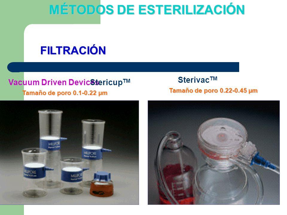 Vacuum Driven DevicesStericup TM Sterivac TM Tamaño de poro 0.1-0.22 µm Tamaño de poro 0.22-0.45 µm FILTRACIÓN MÉTODOS DE ESTERILIZACIÓN