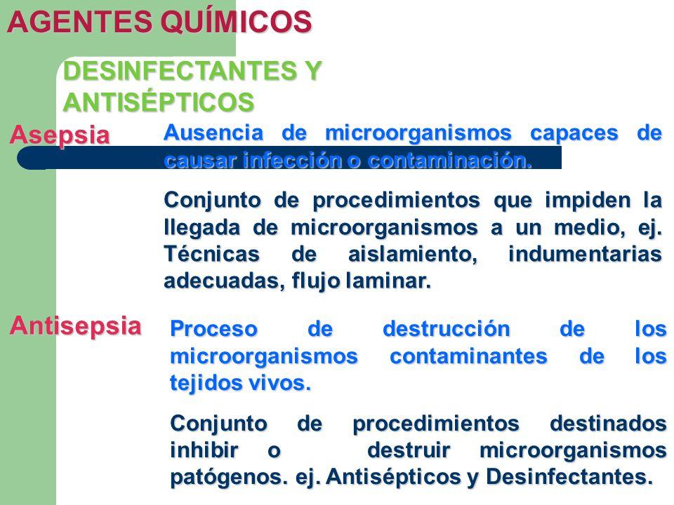 AGENTES QUÍMICOS Asepsia Ausencia de microorganismos capaces de causar infección o contaminación. Conjunto de procedimientos que impiden la llegada de