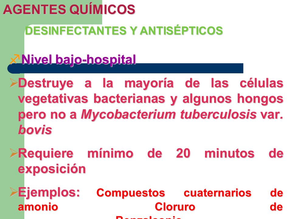 DESINFECTANTES Y ANTISÉPTICOS Nivel bajo-hospital Nivel bajo-hospital Destruye a la mayoría de las células vegetativas bacterianas y algunos hongos pe