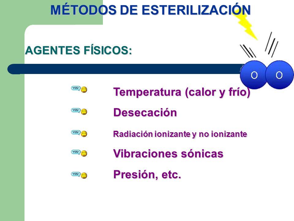 AGENTES FÍSICOS: Temperatura (calor y frío) Desecación Radiación ionizante y no ionizante Vibraciones sónicas Presión, etc. MÉTODOS DE ESTERILIZACIÓN