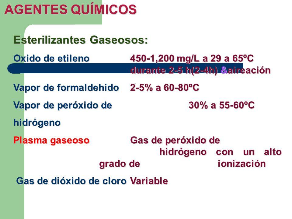 Esterilizantes Gaseosos: Oxido de etileno450-1,200 mg/L a 29 a 65ºC durante 2-5 h(2-4h) &aireación Vapor de formaldehído2-5% a 60-80ºC Vapor de peróxi