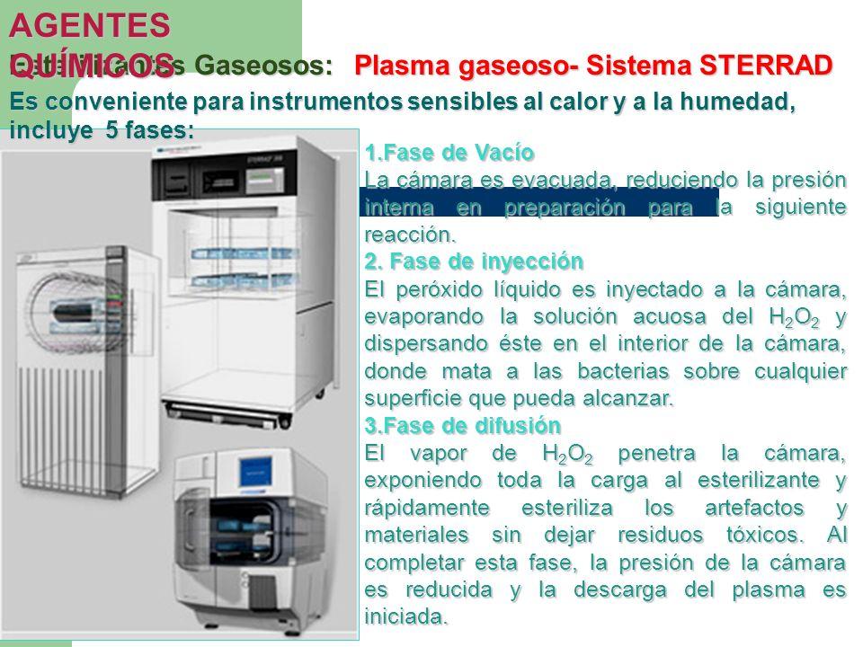 Esterilizantes Gaseosos:Plasma gaseoso- Sistema STERRAD AGENTES QUÍMICOS 1.Fase de Vacío La cámara es evacuada, reduciendo la presión interna en prepa