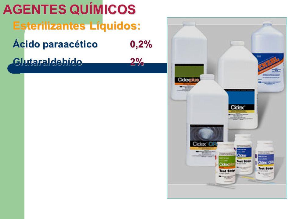 Esterilizantes Líquidos: Ácido paraacético0,2% Glutaraldehído2% AGENTES QUÍMICOS