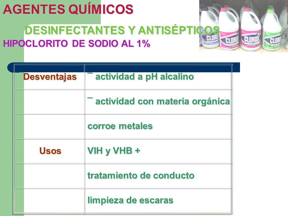 HIPOCLORITO DE SODIO AL 1% DESINFECTANTES Y ANTISÉPTICOS AGENTES QUÍMICOS