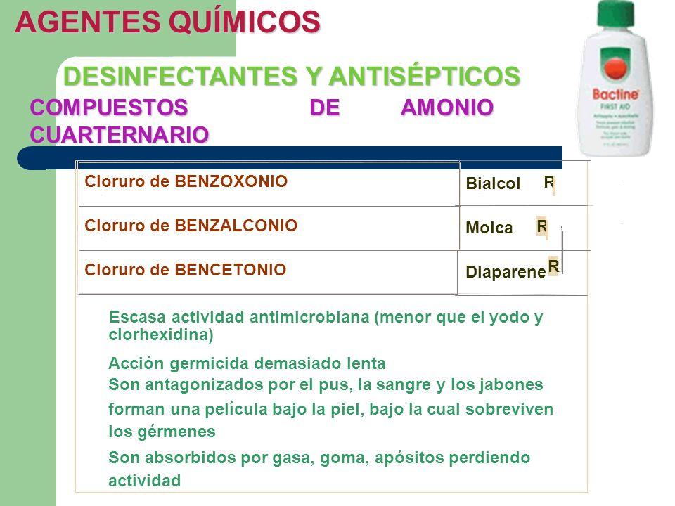 COMPUESTOS DE AMONIO CUARTERNARIO DESINFECTANTES Y ANTISÉPTICOS AGENTES QUÍMICOS Cloruro de BENZOXONIO Bialcol R Cloruro de BENZALCONIO Molca R Clorur