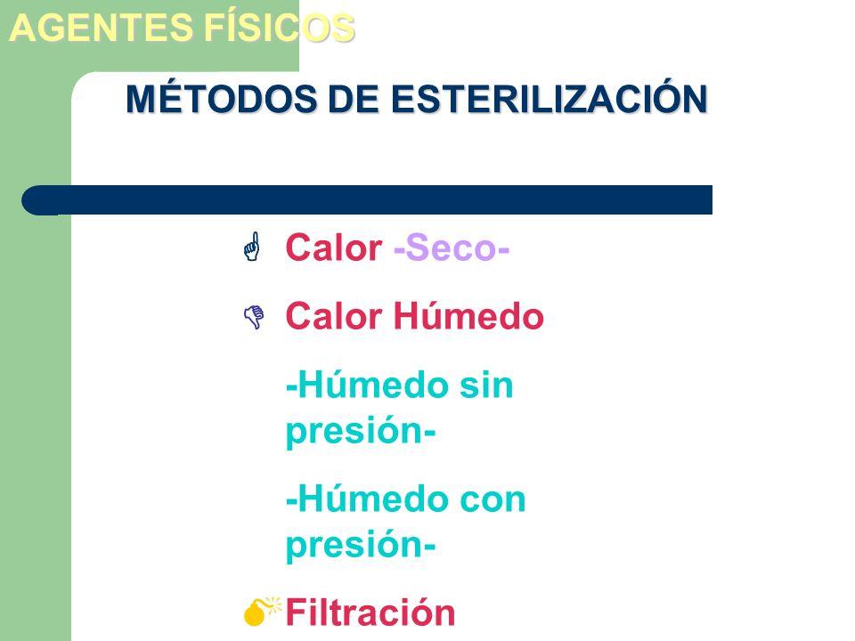 Calor -Seco- Calor Húmedo -Húmedo sin presión- -Húmedo con presión- Filtración Radiación MÉTODOS DE ESTERILIZACIÓN AGENTES FÍSICOS