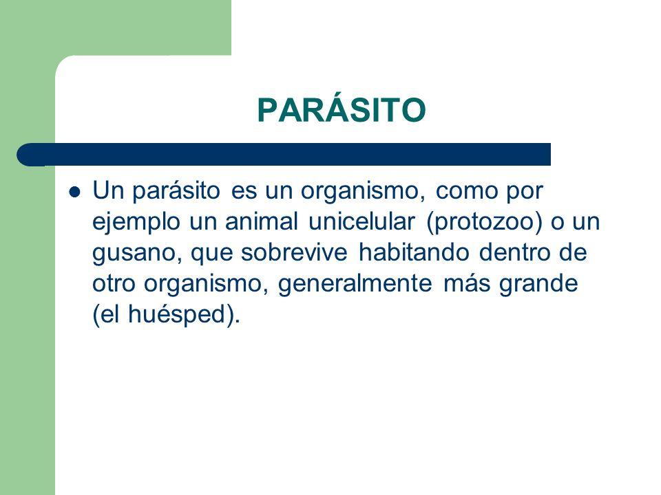 PARÁSITO Un parásito es un organismo, como por ejemplo un animal unicelular (protozoo) o un gusano, que sobrevive habitando dentro de otro organismo,