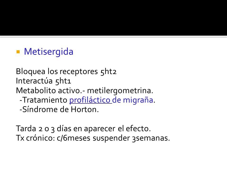 Metisergida Bloquea los receptores 5ht2 Interactúa 5ht1 Metabolito activo.- metilergometrina. -Tratamiento profiláctico de migraña. -Síndrome de Horto