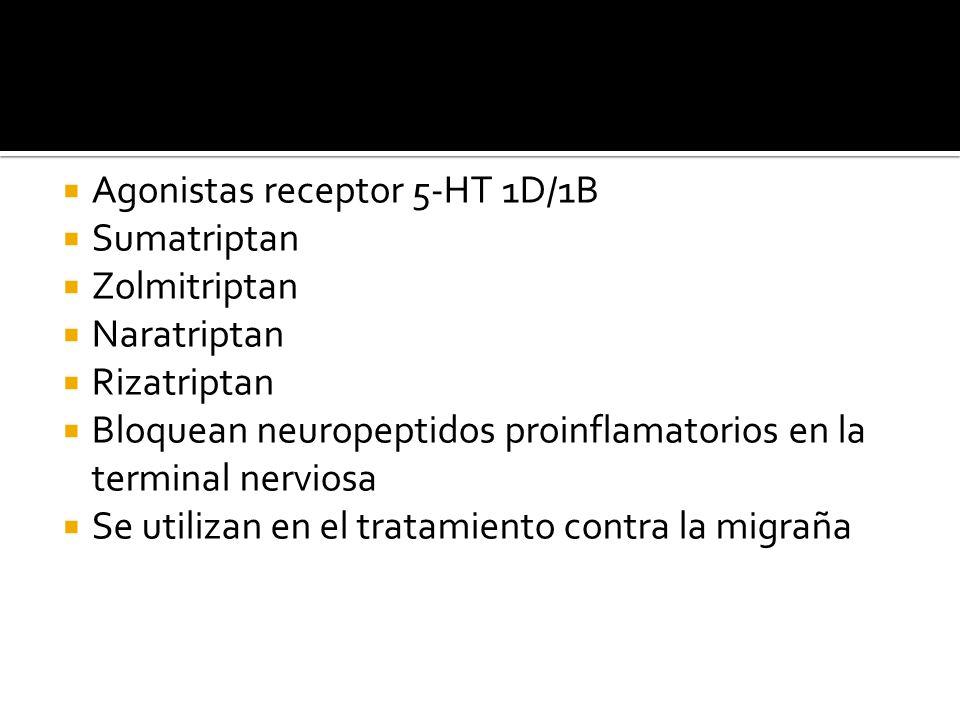 Agonistas receptor 5-HT 1D/1B Sumatriptan Zolmitriptan Naratriptan Rizatriptan Bloquean neuropeptidos proinflamatorios en la terminal nerviosa Se util