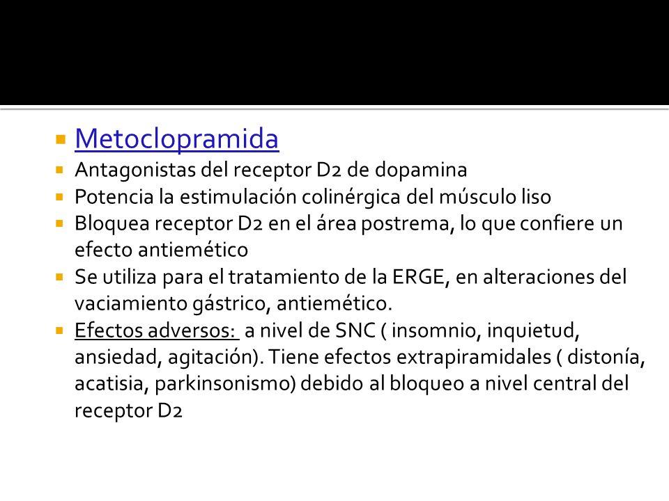Metoclopramida Antagonistas del receptor D2 de dopamina Potencia la estimulación colinérgica del músculo liso Bloquea receptor D2 en el área postrema,