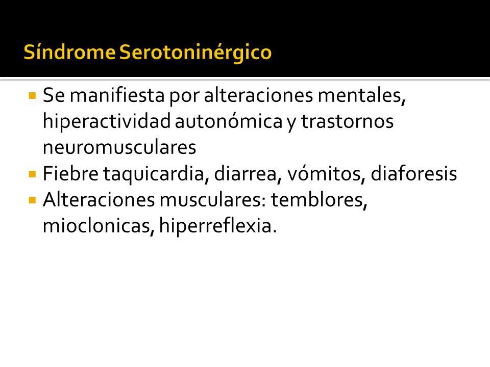 Síndrome Serotoninérgico Se manifiesta por alteraciones mentales, hiperactividad autonómica y trastornos neuromusculares Fiebre taquicardia, diarrea,