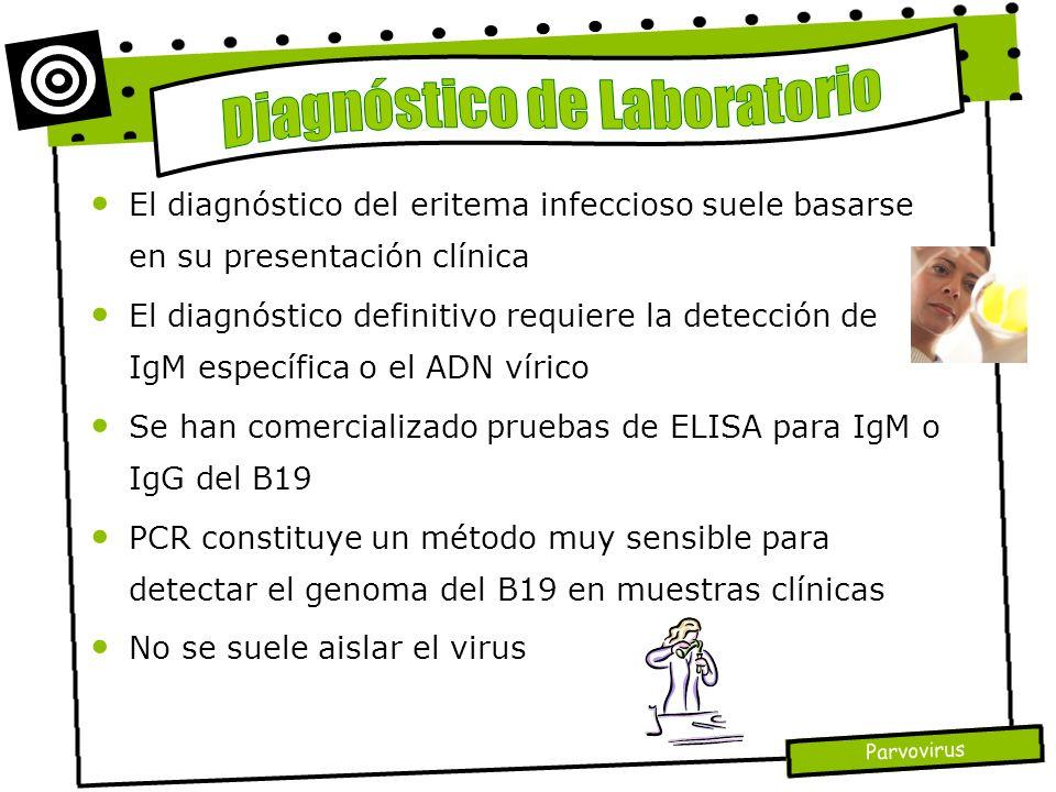 Parvovirus El diagnóstico del eritema infeccioso suele basarse en su presentación clínica El diagnóstico definitivo requiere la detección de IgM espec