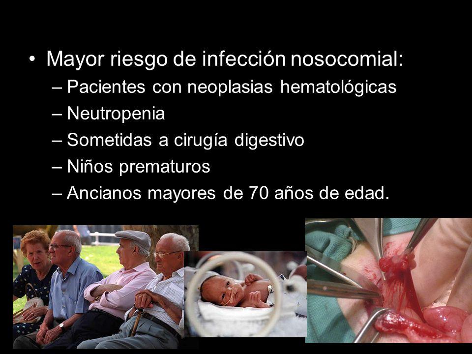 Mayor riesgo de infección nosocomial: –Pacientes con neoplasias hematológicas –Neutropenia –Sometidas a cirugía digestivo –Niños prematuros –Ancianos mayores de 70 años de edad.