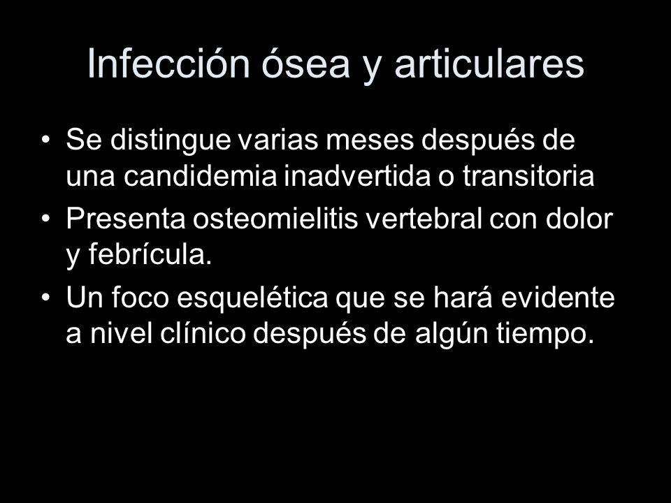 Infección ósea y articulares Se distingue varias meses después de una candidemia inadvertida o transitoria Presenta osteomielitis vertebral con dolor y febrícula.