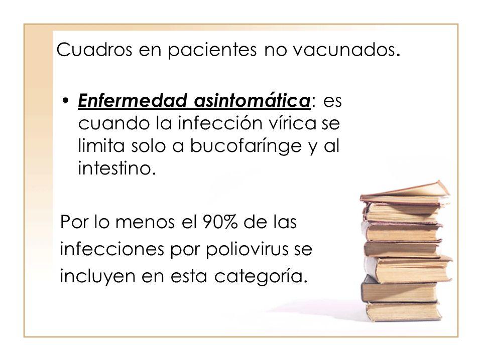 Cuadros en pacientes no vacunados. Enfermedad asintomática : es cuando la infección vírica se limita solo a bucofarínge y al intestino. Por lo menos e